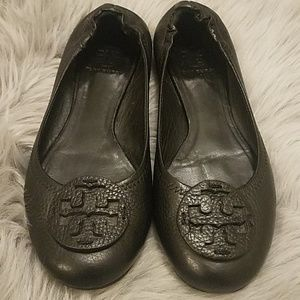 Tory Burch pebbled black leather flats